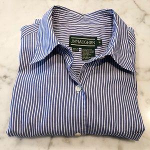 J. McLaughlin Blue & White Striped Button-Down Top